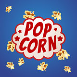 Pop corn sign logo vintage poster, vector illustration