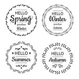 Hello Spring, Winter, Autumn and summer cards design.