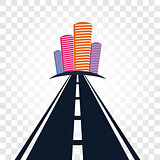Isolated abstract empty highway with dividing marking and colorful cityscape on checkered background vector illustration.