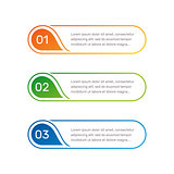 Infographic colorful numbers from 1 to 3 and text columns vector illustration.