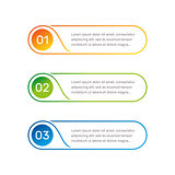 Infographic round shape colorful numbers from 1 to 3 and text columns vector illustration.