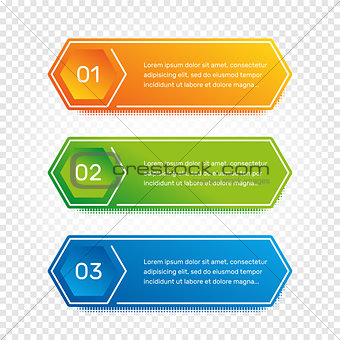 Layout workflow. Outline colorful menu for app interface. Number options. Web design of buttons elements. Infographics 1. 2. 3. vector template. Text illustration.