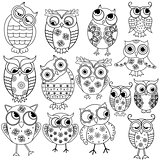 Fourteen cartoon funny owl outlines