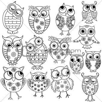 Fourteen cartoon funny owl outlines