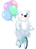 Polar Bear Riding a Bicycle with Balloons