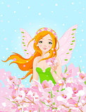 Spring Fairy and Blossom Flowers