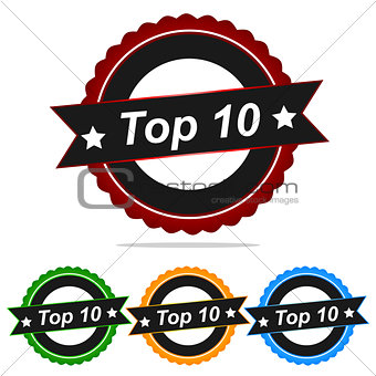 TOP 10 stamp sign text  logo.