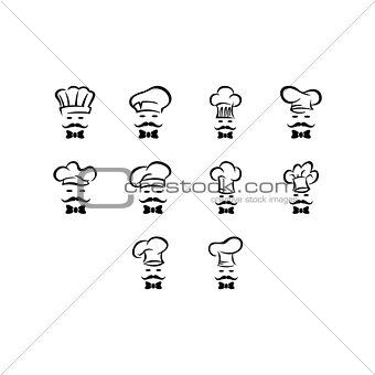 Flat black chef icon set