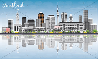 Auckland Skyline with Gray Buildings, Blue Sky and Reflections.