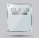 Glass Plate with Steel Rivets Isolated On Transparent Background
