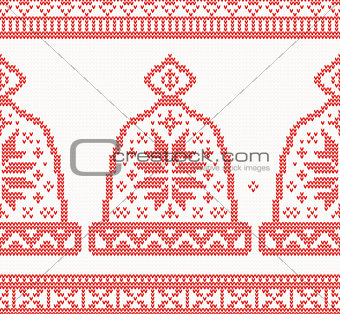 Knitted Cap Seamless Pattern in Red Color.