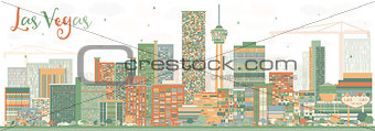 Abstract Las Vegas Skyline with Color Buildings.