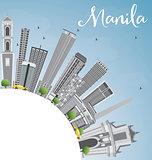 Manila Skyline with Gray Buildings and Blue Sky.