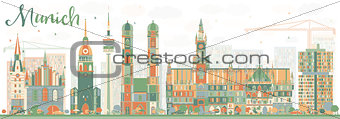 Abstract Munich Skyline with Color Buildings.