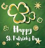 Saint Patrick's Day Background with Clover Leaves, Golden Stars