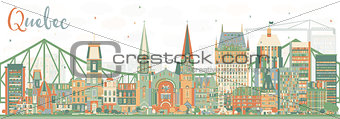Abstract Quebec Skyline with Color Buildings.