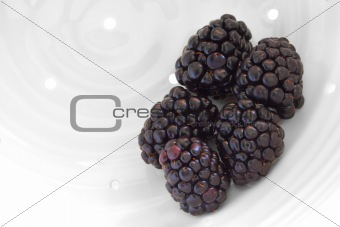 Blackberries Being Washed In Handmade White Porcelain Berry Cola