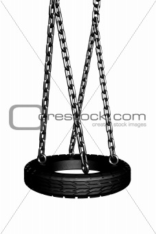 A swing with a tire seat