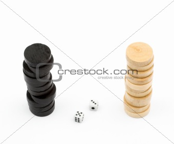 Backgammon chips and dices