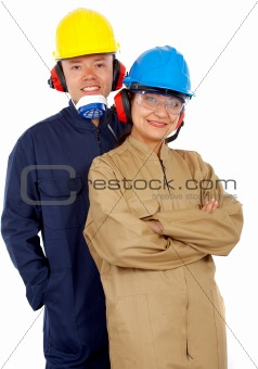 couple of industrial workers