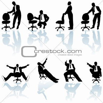 Businessman and Rolling Chair Silhouettes