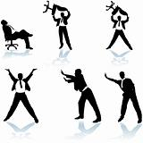 Businessman Poses Silhouettes