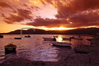 Sunset in Sardinian harbor