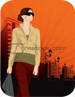 Lady walking with shopping bag