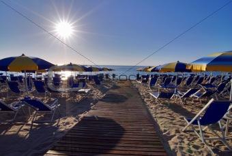 Beach and umbrellas