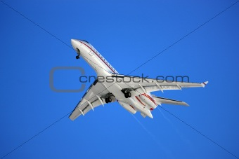 Aeroplane on a blue background