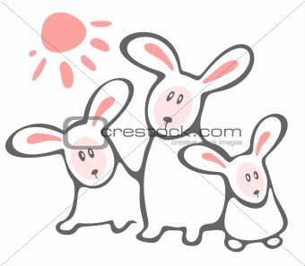 three rabbits and sun