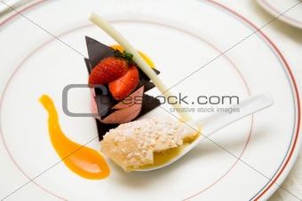 a plate of strawberry dessert