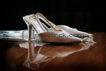 Wedding Shoes on shiny table