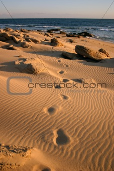 Footprints in the sands of a beach