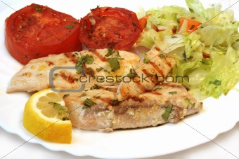 Grilled white fish and tomato with fresh salad on plate. Isolate