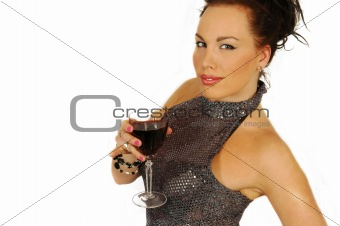attractive brunette with wine glass