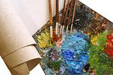 set for painting - canvas, palette, paintbrushes