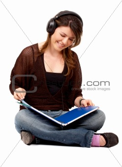 student listening to music