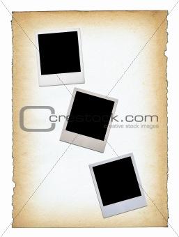three blank photo frames
