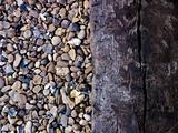 Close up of stones and railway sleeper