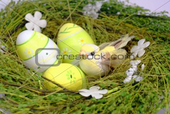 green nest with bird and eastereggs