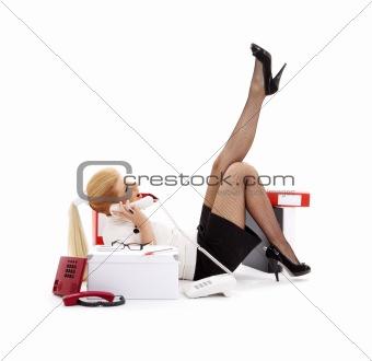 laying chatting businesswoman