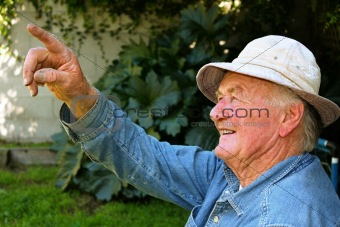 Older Man Pointing