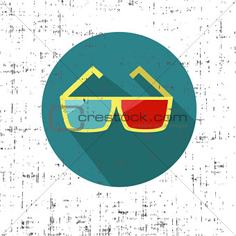 3d glasses on a white background with screen texture grunge retro vector