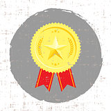 Winner medal with golden star icon with screen texture