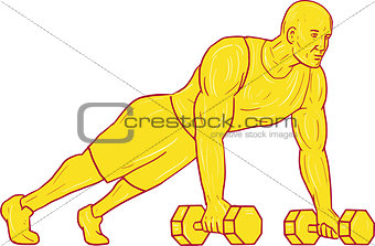 Fitness Athlete Push Up Dumbbell Drawing