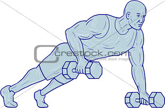 Fitness Athlete Push Up One Hand Dumbbell Drawing