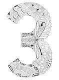 Number three Zentangle. Vector decorative number