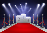 Stage for awards ceremony. White podium with red carpet. Pedestal. Scene. Spotlight. 3D. Vector illustration.