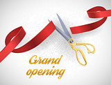 Grand opening illustration with red ribbon and gold scissors isolated on white.